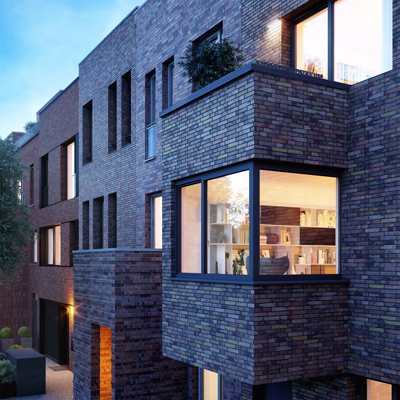 Raffinierte Architektur von Außen im Townhouse: upTOWNHOUSES - designed by 8 architects. Foto: ICON IMMOBILIEN